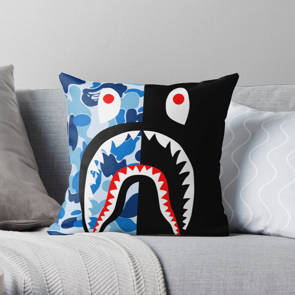 blue black blacky Throw Pillow