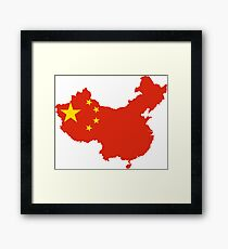 Flag Map of China  Framed Print