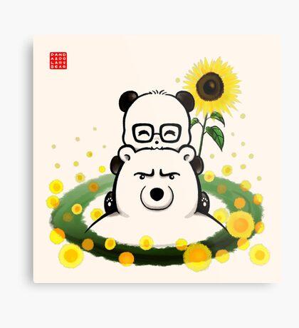 Bears and Sunflowers Metal Print