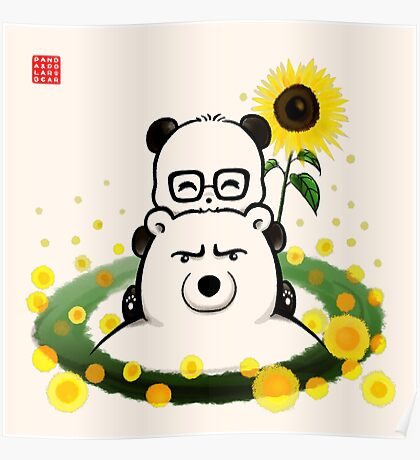 Bears and Sunflowers Poster