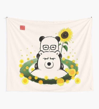 Bears and Sunflowers Wall Tapestry
