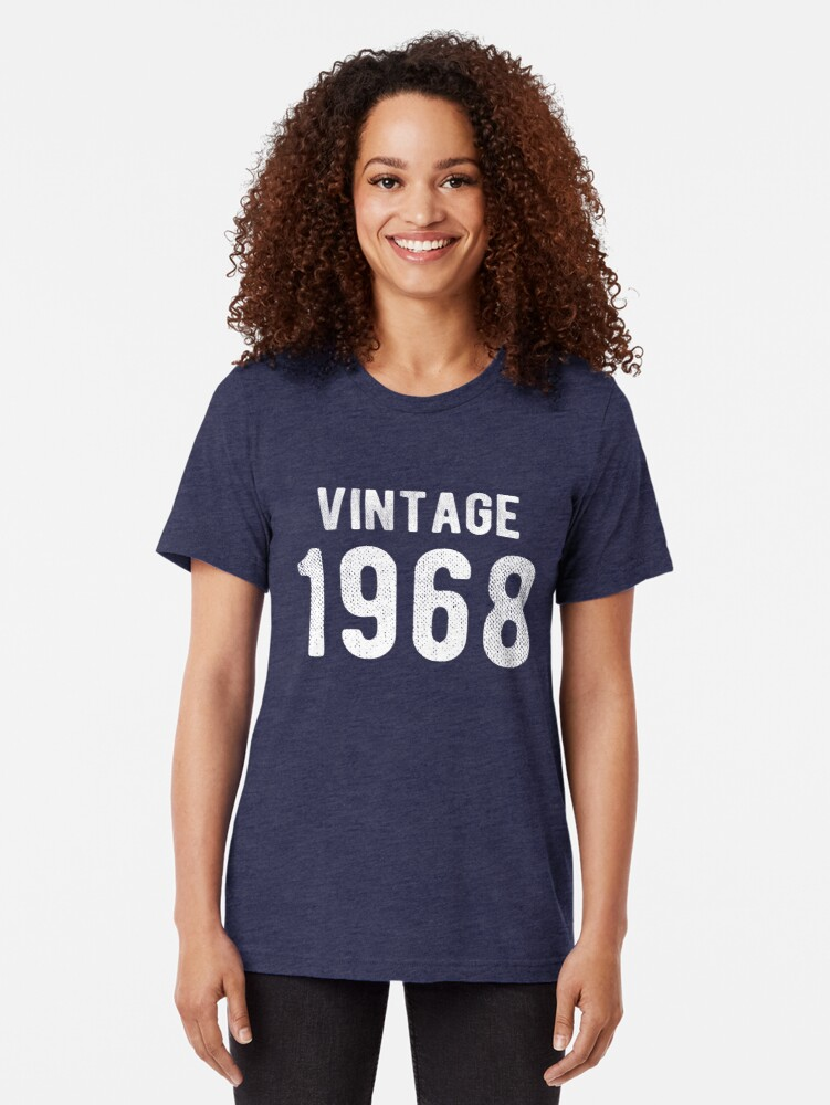 Alternate view of Retro Vintage 1968 Awesome 50th Birthday Gift Tri-blend T-Shirt