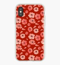 Red poppies pattern on red background iPhone Case