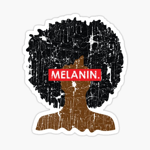 Melanin Distressed Afro Sticker