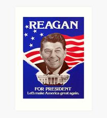 Reagan Bush '84 Retro Logo Red White Blue Election Ronald George 1984 84 Art Print