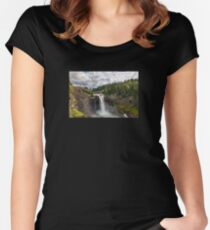 Snoqualmie Falls in Washington State on a cloudy day Women's Fitted Scoop T-Shirt