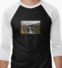 Snoqualmie Falls in Washington State on a cloudy day Men's Baseball ¾ T-Shirt