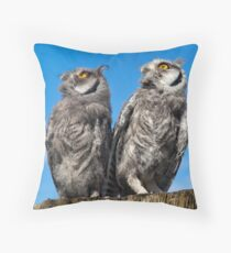 Was that a Pterodactyl just flew over? (White-Faced Scops Owls) Throw Pillow