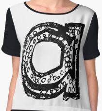 Lower case black and white Alphabet letter a  Chiffon Top