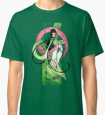 Geisha in Green with Koi and lotus Flowers Classic T-Shirt