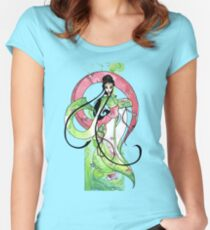 Geisha in Green with Koi and lotus Flowers Women's Fitted Scoop T-Shirt