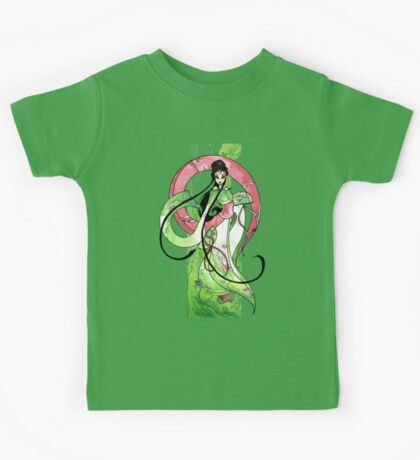 Geisha in Green with Koi and lotus Flowers Kids Clothes