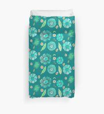 Boho Floral Bloom pattern on geeen-blue background Duvet Cover