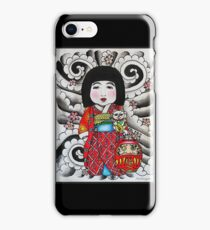 Ichimatsu ningyo, maneki neko and daruma doll  iPhone Case/Skin