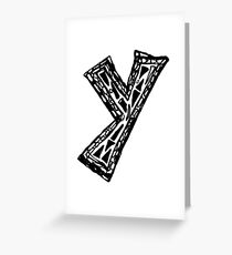 Lower case black and white Alphabet letter Y  Greeting Card