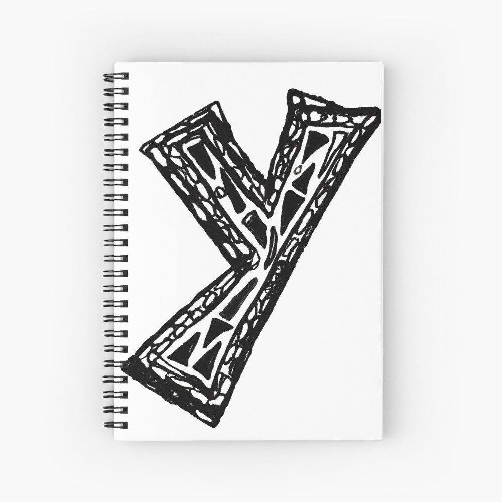 Lower case black and white Alphabet letter Y  Spiral Notebook