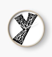 Lower case black and white Alphabet letter Y  Clock