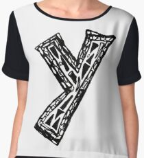 Lower case black and white Alphabet letter Y  Chiffon Top