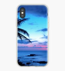Vinilo o funda para iPhone Tropical Island Pretty Pink Blue Sunset Paisaje