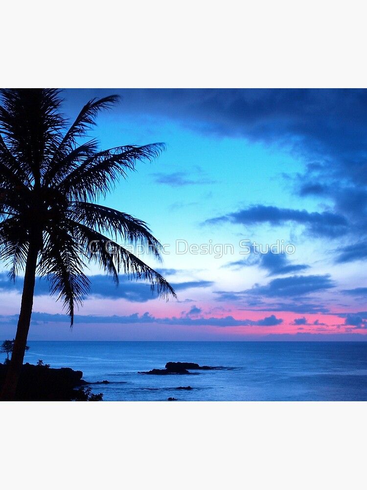 Tropical Island Pretty Pink Blue Sunset Paisaje de FudgePudge