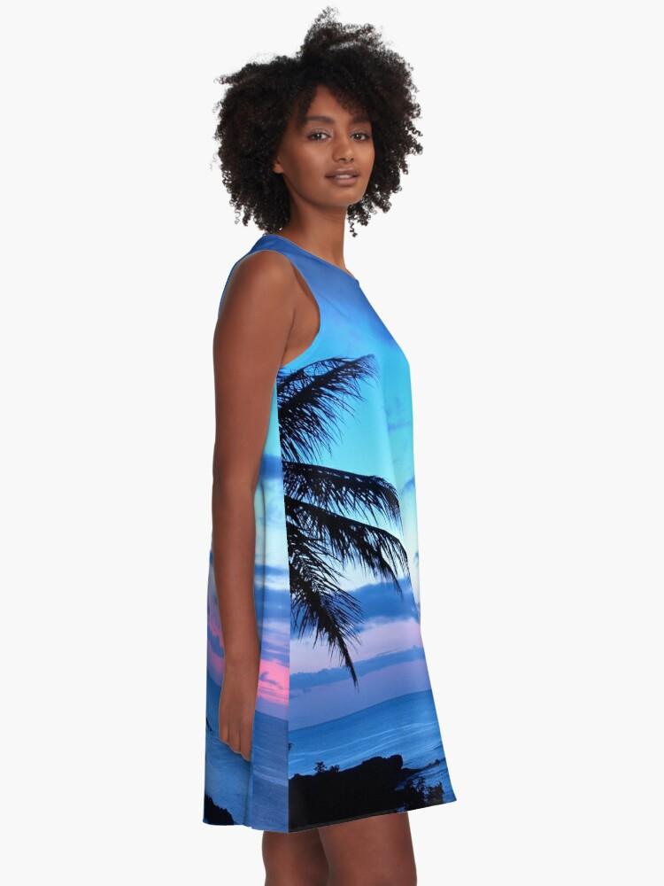 Vista alternativa de Vestido acampanado Tropical Island Pretty Pink Blue Sunset Paisaje
