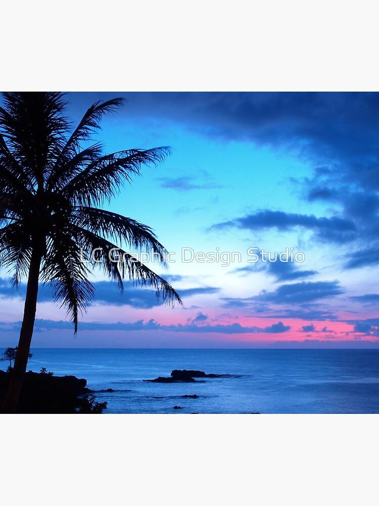 Tropical Island Pretty Pink Blue Sunset Landscape by FudgePudge