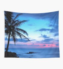 Tropical Island Pretty Pink Blue Sunset Landscape Wall Tapestry
