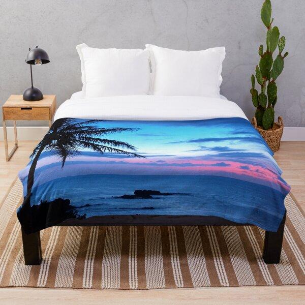 Tropical Island Pretty Pink Blue Sunset Landscape Throw Blanket