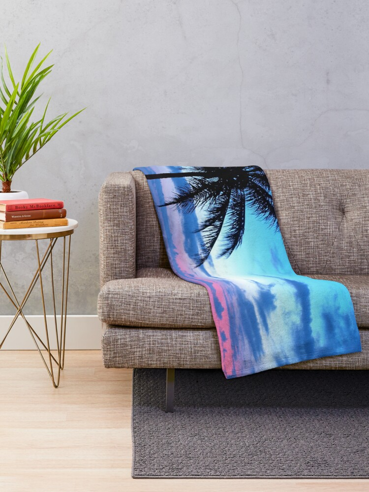 Alternate view of Tropical Island Pretty Pink Blue Sunset Landscape Throw Blanket
