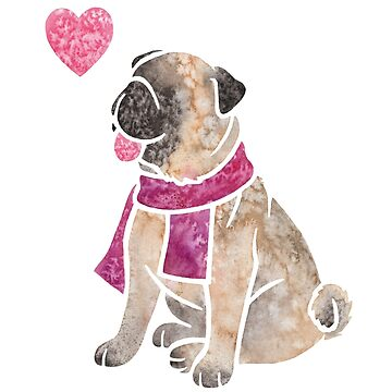 Watercolour Pug dog by animalartbyjess
