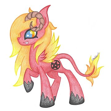 Satanic Horned Fire Pony by KimmieKat97