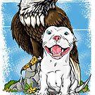 American Pit Bulls & Bald Eagle by Beverlytazangel
