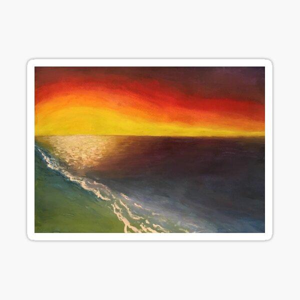 Seaside Sunset - original painting by mjh, 2018 Sticker