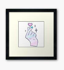 Pastel Kpop Hand Heart Sign Framed Print