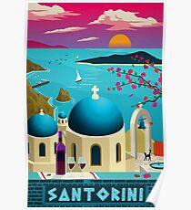 "Vintage Reise Poster ""Santorini - Griechenland"" ⛔ HQ Qualität Poster"