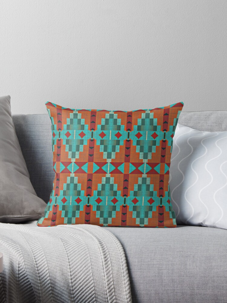 Bright Orange Red Aqua Turquoise Teal Mosaic Pattern by FudgePudge