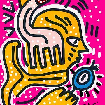 Portrait of a yellow king on pink pop background Graffiti by signorino