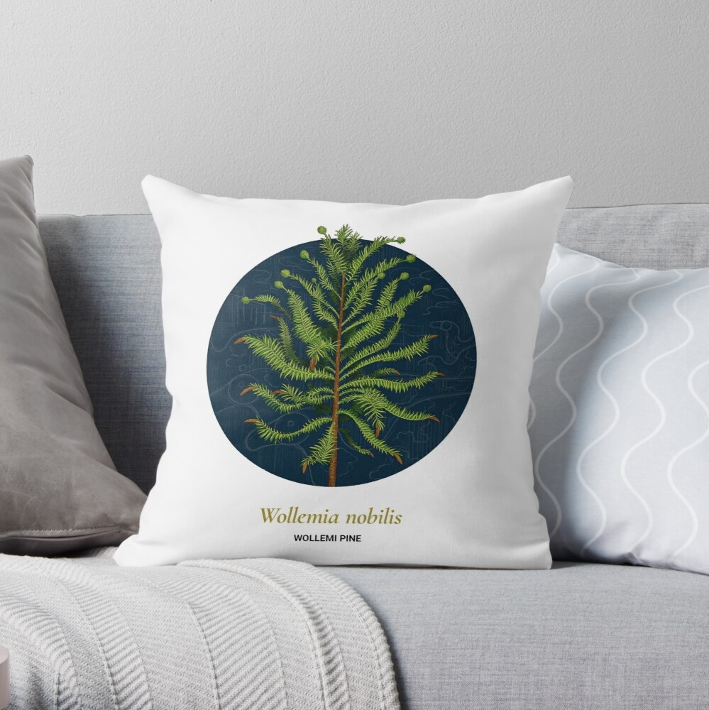The Circles of Life: Wollemi Pine Throw Pillow