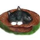 Nap in Straw Hat for Kitty and Mouse by NineLivesStudio