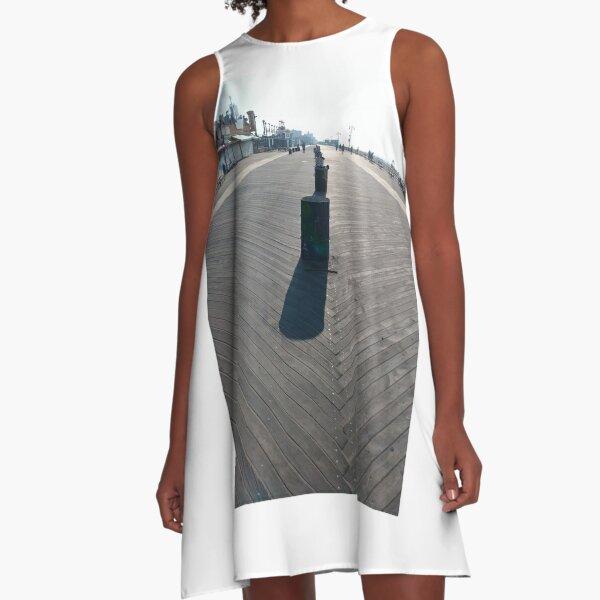 Coney Island Beach and Boardwalk, New York City, #ConeyIslandBeach, #Boardwalk, #NewYorkCity A-Line Dress