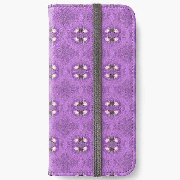 elegant curling fern, old fashioned rose pattern on purple iPhone Wallet