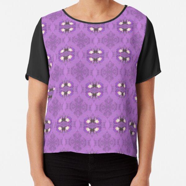 elegant curling fern, old fashioned rose pattern on purple Chiffon Top