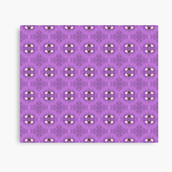 elegant curling fern, old fashioned rose pattern on purple Canvas Print
