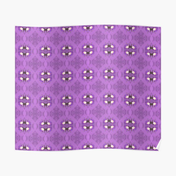 elegant curling fern, old fashioned rose pattern on purple Poster