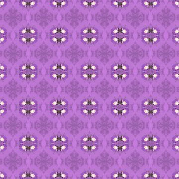 elegant curling fern, old fashioned rose pattern on purple by DlmtleArt