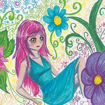 Permanent Marker Challenge Flower Girl by Felizaestrada