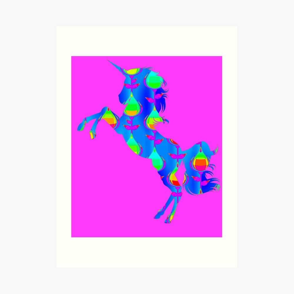 Blaues Design-Einhorn Kunstdruck