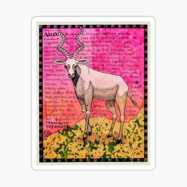 Addax - Letter A of the Endangered Alphabet Sticker