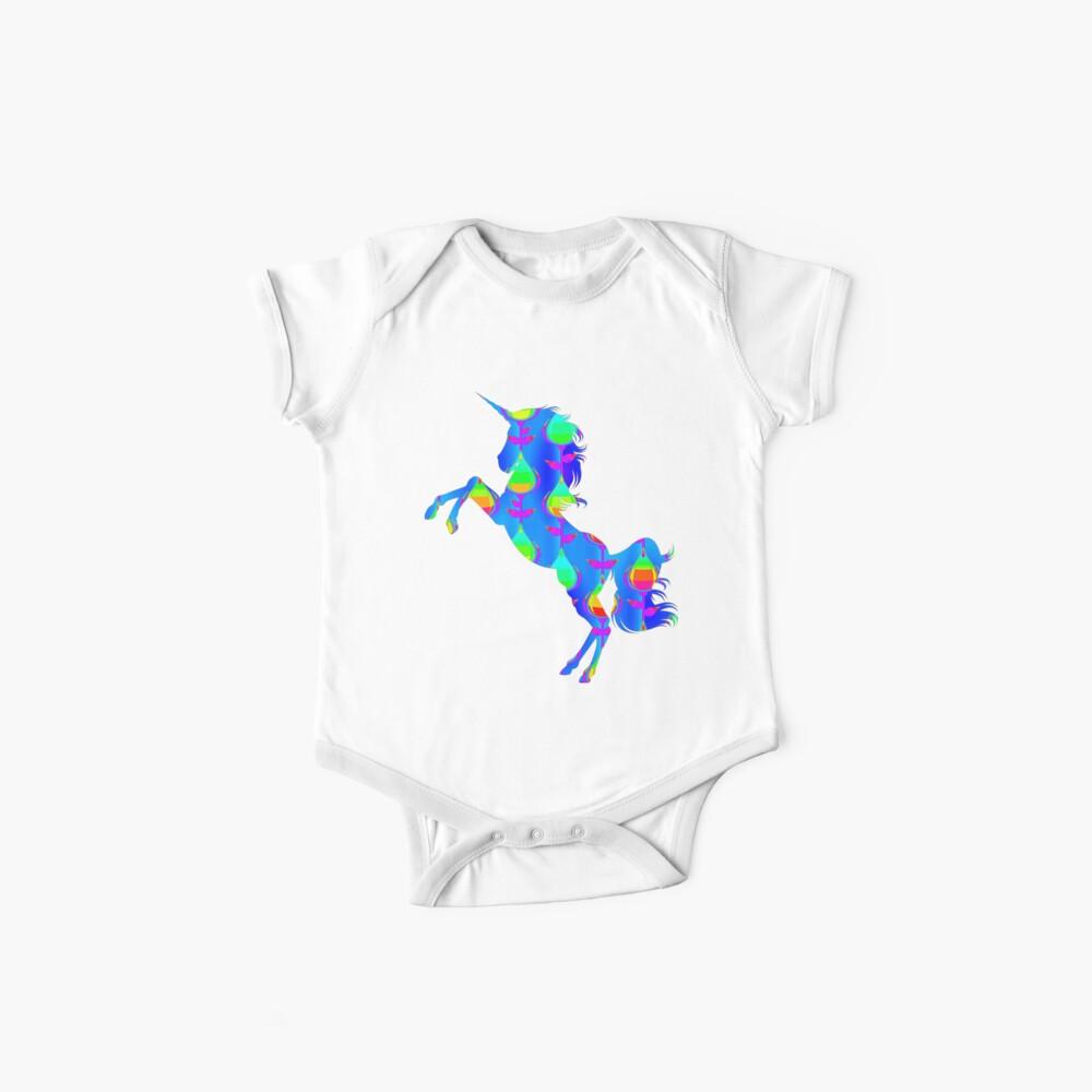 Blaues Design-Einhorn Baby Bodys