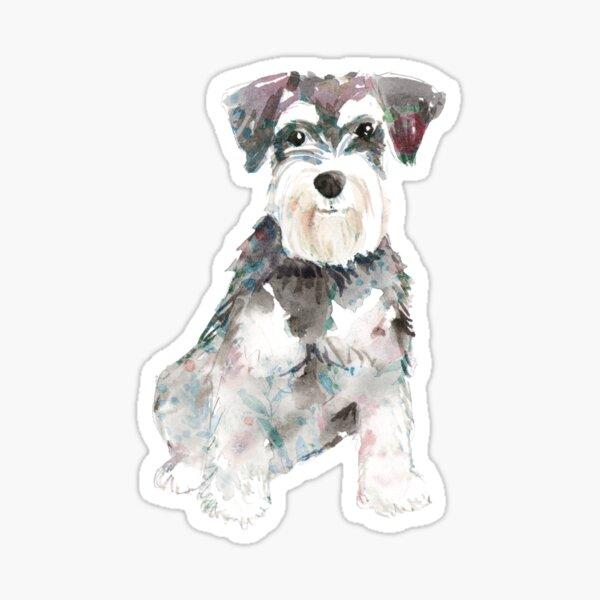 Ilustración de acuarela de perro Schnauzer miniatura Pegatina